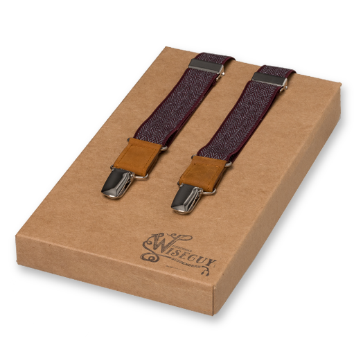 Wiseguy Suspenders - The Herringbone - Burgundy (1)